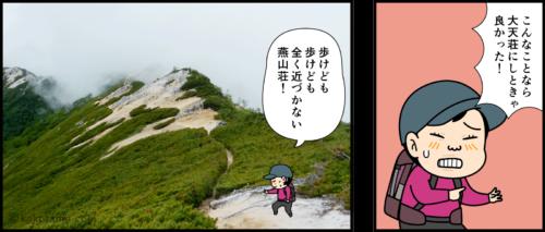 燕岳と常念岳の分岐点でどちらへ行くか迷う漫画3