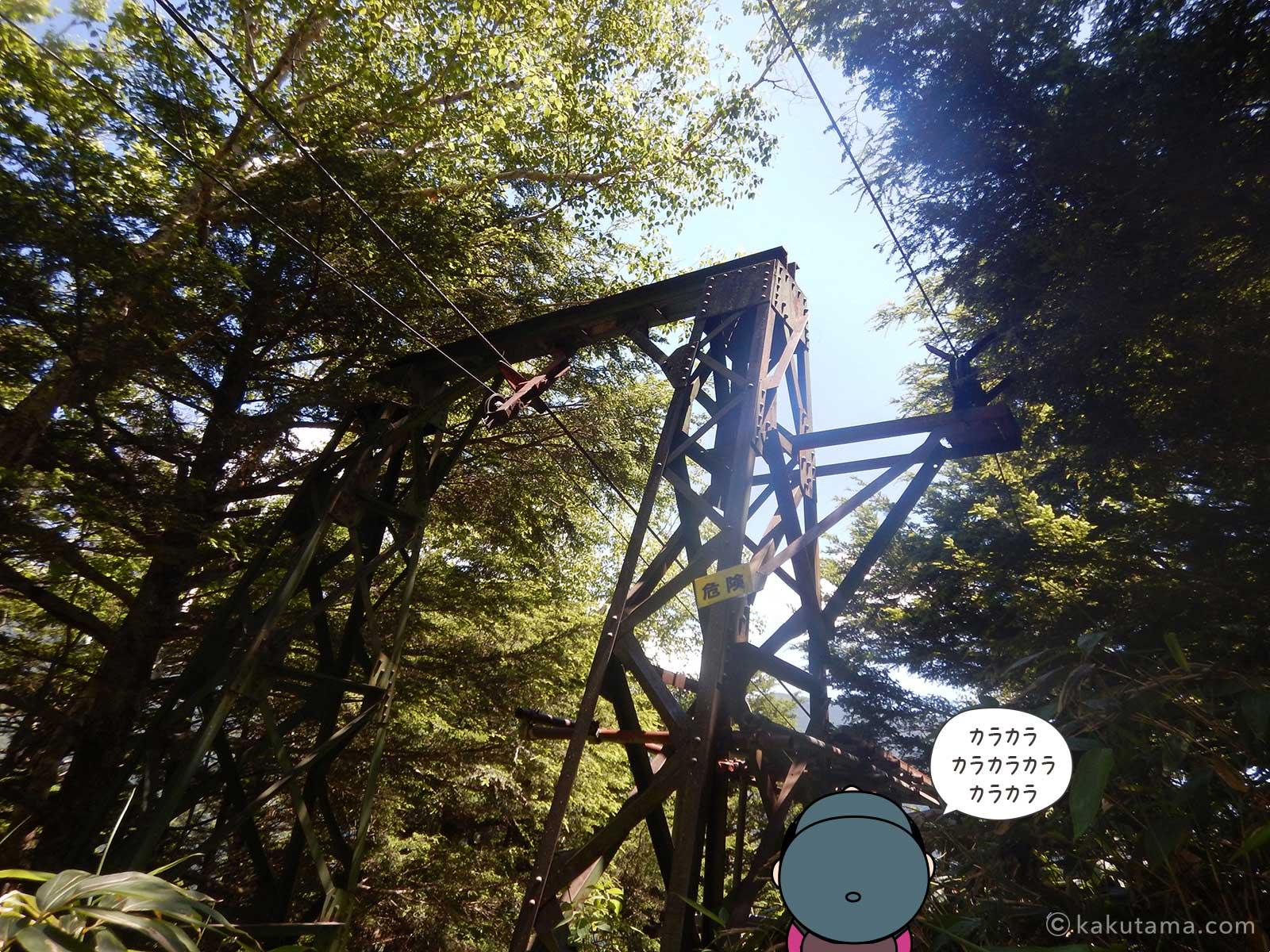 合戦小屋への滑車を見上げる