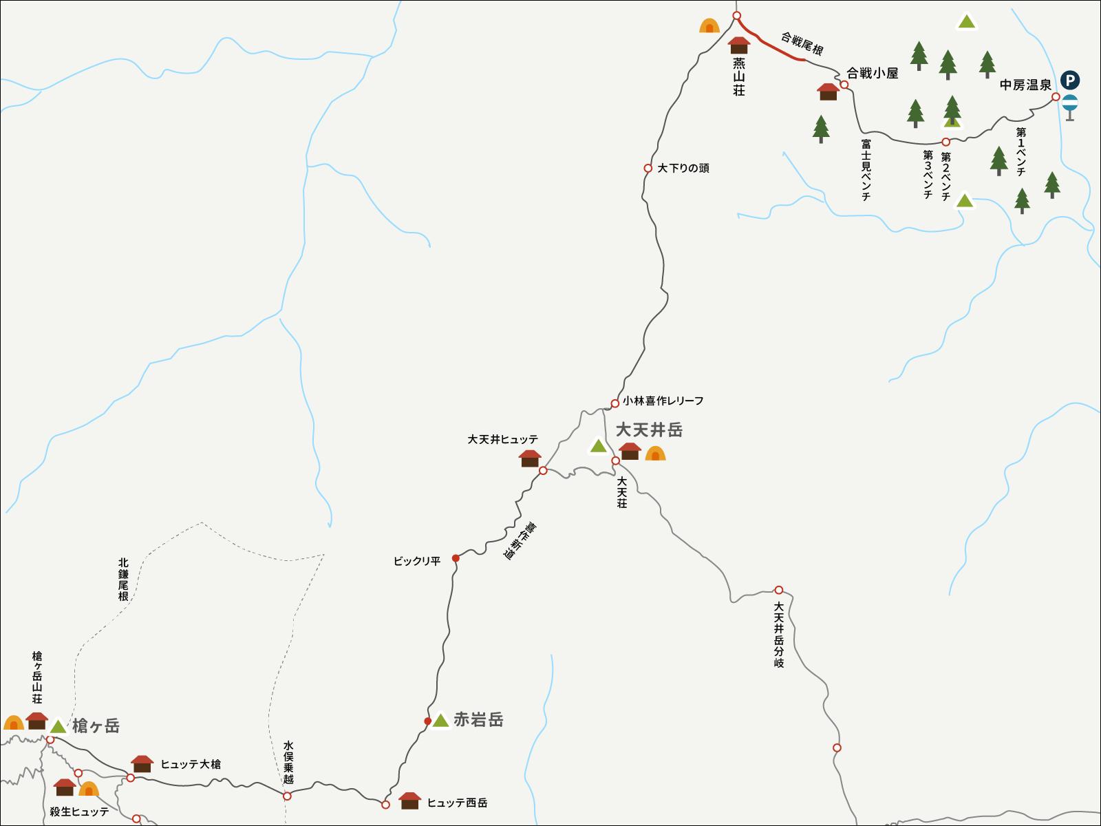 燕山荘から中房温泉までのイラストマップ1