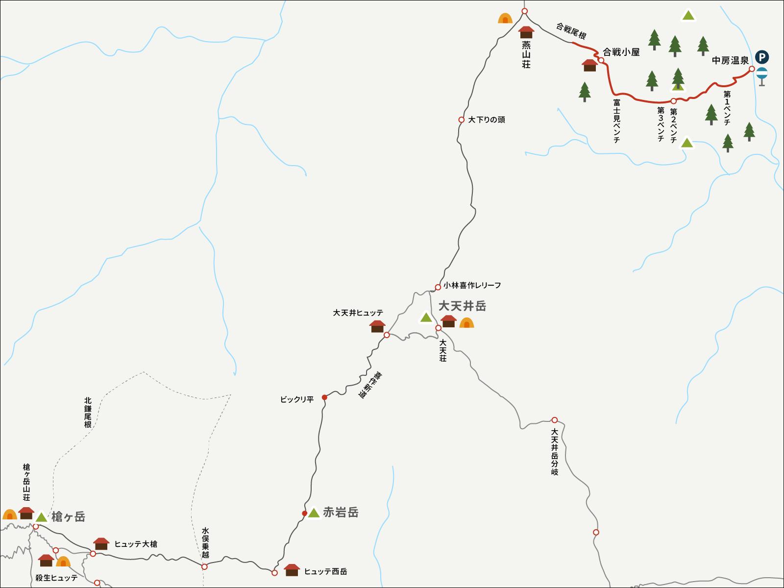 燕山荘から中房温泉までのイラストマップ2
