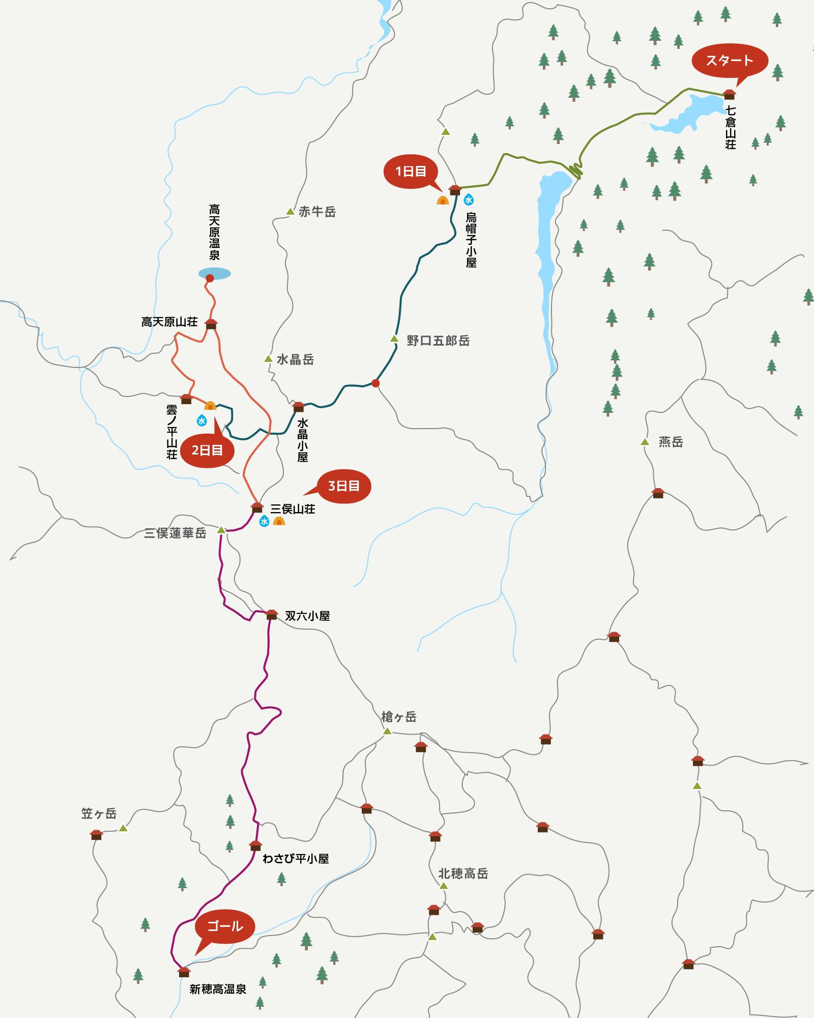 今回の登山行程のイラストマップ